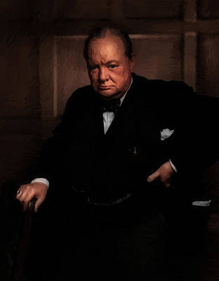 Statesmen Mixed Media - Winston Churchill by Doc Braham