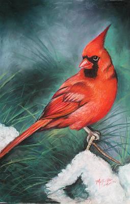 Winter Cardinal Original by Melinda Saminski