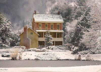 Winter Farm House Print by Fran J Scott