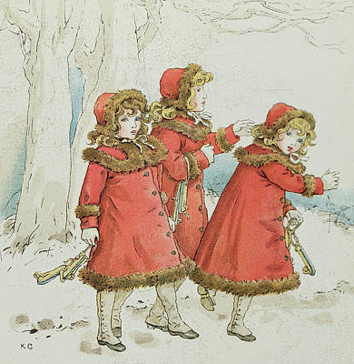 Red Drawing - Winter by Kate Greenaway