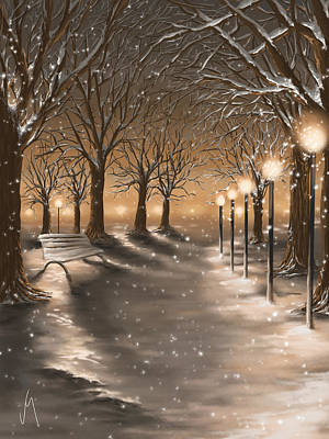 Snowscape Digital Art - Winter by Veronica Minozzi