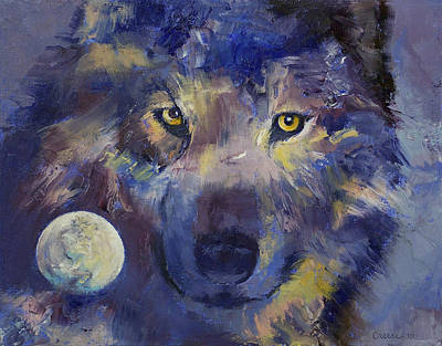Grey Wolf Moon Print by Michael Creese