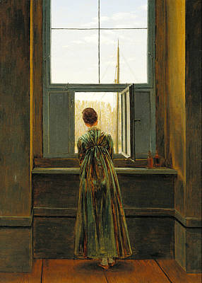 Caspar Painting - Woman At A Window by Celestial Images