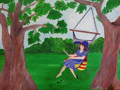 Swing Painting - Woman In Swing by Becky Myers