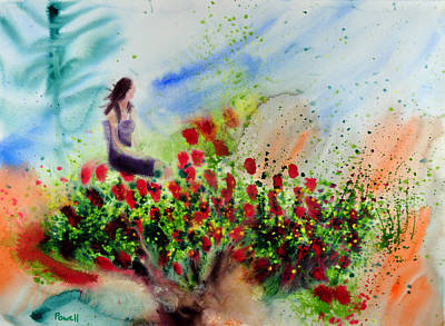 Wet Into Wet Watercolor Painting - Woman In Tree by Brook Powell