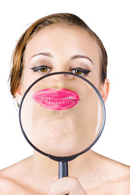 Provocative Photograph - Woman Kissing Magnifying Glass by Jorgo Photography - Wall Art Gallery