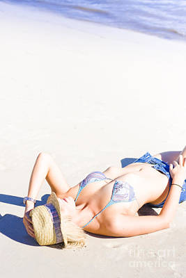 Woman Lying On Beach Print by Jorgo Photography - Wall Art Gallery