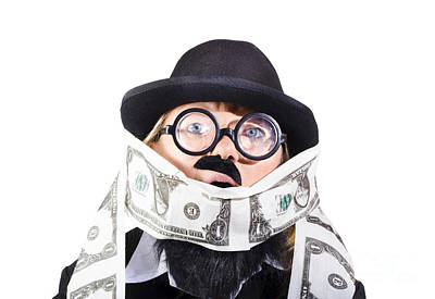 Woman Rolling Rich With Us Money Print by Jorgo Photography - Wall Art Gallery