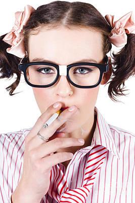 Addictive Photograph - Woman Smoking Cigarette by Jorgo Photography - Wall Art Gallery