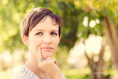 Contemplate Photograph - Woman Thinking At Rural Setting.  Green Idea by Jorgo Photography - Wall Art Gallery