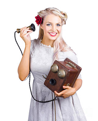 Dialog Photograph - Woman Using Antique Telephone by Jorgo Photography - Wall Art Gallery