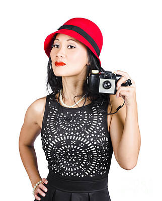 Fedora Photograph - Woman With An Old Camera by Jorgo Photography - Wall Art Gallery