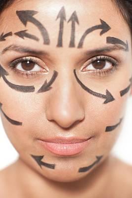 Woman With Arrows On Face Print by Ian Hooton