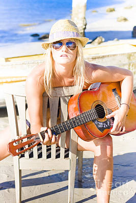 Lyrics Photograph - Woman With Guitar by Jorgo Photography - Wall Art Gallery