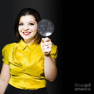 Woman With Magnifier Doing Data Recovery Print by Jorgo Photography - Wall Art Gallery