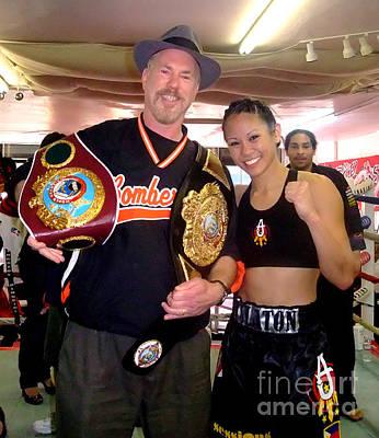 Drawing Photograph - Woman's Boxing Champion Filipino American Ana Julaton And Myself by Jim Fitzpatrick
