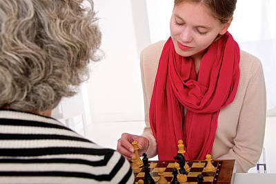 Chessmen Photograph - Women Playing Chess by Lea Paterson