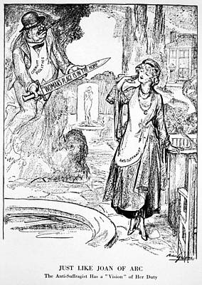 Suffrage Painting - Women's Rights Cartoon, 1915 by Granger