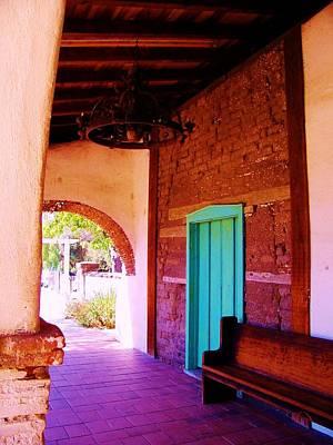 Mission San Juan Bautista Photograph - Wooden Aqua Door And Bench by Peggy Leyva Conley