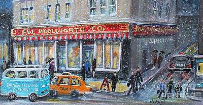 Ma. Mass Painting - Woolworth's Holiday Shopping by Rita Brown