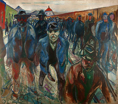 Building Factory Work Vintage Painting - Workers On Their Way Home by Mountain Dreams