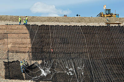 Workers Stabilising A Hillside Print by Jim West