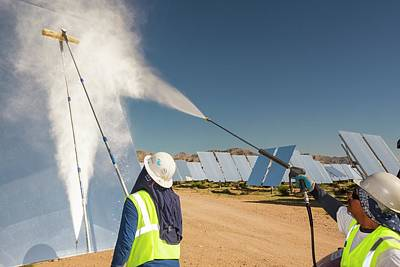 Boiler Photograph - Workers Washing The Heliostats by Ashley Cooper