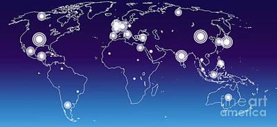 Selecting Digital Art - World Economies Map by Atiketta Sangasaeng