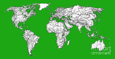 Continent Drawing - World Map In Green by Adendorff Design