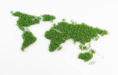 World Map Made Out Of Grass Print by Andrzej Wojcicki