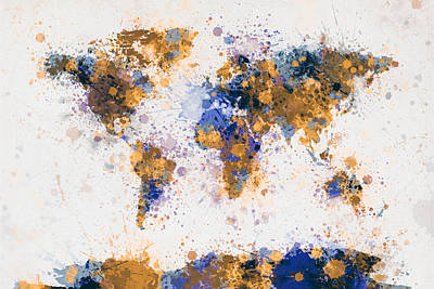 Map Of The World Digital Art - World Map Paint Splashes by Michael Tompsett