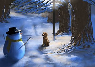 Snowscape Painting - Would You Like To Play? by Veronica Minozzi