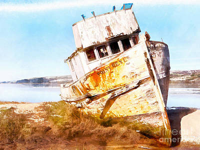 Dilapidated Digital Art - Wreck Of The Point Reyes Boat In Inverness Point Reyes California Dsc2079wc by Wingsdomain Art and Photography
