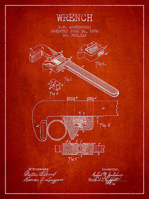 Monkey Drawing - Wrench Patent Drawing From 1896 by Aged Pixel