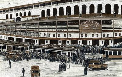 Chicago Cubs Painting - Wrigley Field by Steven Schultz