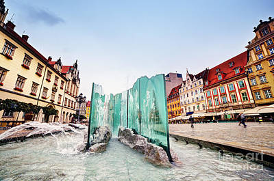 Lamp Photograph - Wroclaw Poland The Market Square With The Famous Fountain by Michal Bednarek