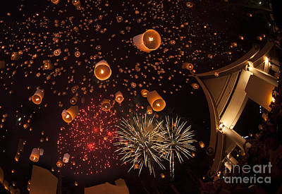 Fire Works Photograph - Yeepeng Festival  by Anek Suwannaphoom