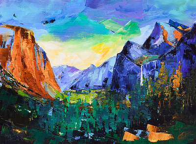 Mountain Valley Painting - Yosemite Valley - Tunnel View by Elise Palmigiani