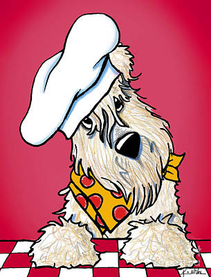 Wheaten Terrier Drawing - You Wanna Pizza Me? by Kim Niles