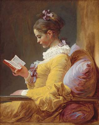 Contemplative Painting - Young Girl Reading by Jean-Honore Fragonard