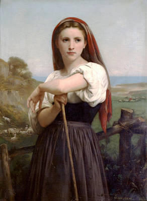 Young Shepherdess Print by William Bouguereau