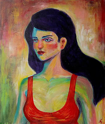 Figure Painting Of A Beautiful Young Woman On Canvas Print by Erki Schotter