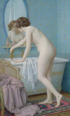 Young Woman Preparing Her Bath Print by Jules Scalbert