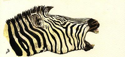 Nature Study Painting - Zebra Head Study by Juan  Bosco