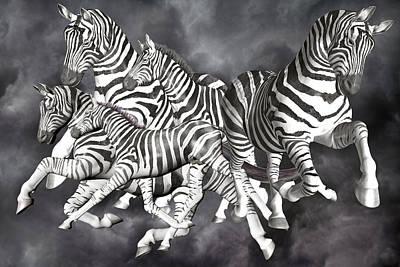Zebras  Print by Betsy Knapp