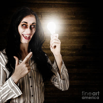 Zombie Girl Holding Lightbulb With Bad Idea Print by Jorgo Photography - Wall Art Gallery