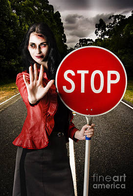 Zombie Girl Holding Stop Sign At Dead End Print by Jorgo Photography - Wall Art Gallery