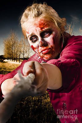 Zombie Pulling Tug Of War Rope. Determined Spirit Print by Jorgo Photography - Wall Art Gallery