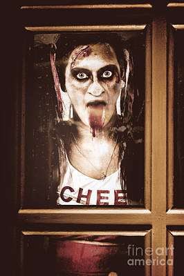 Cheerleaders Photograph - Zombie School Girl Pulling A Funny Face On Glass by Jorgo Photography - Wall Art Gallery