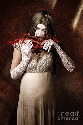 Zombie Vampire Woman Eating Human Hand Print by Jorgo Photography - Wall Art Gallery